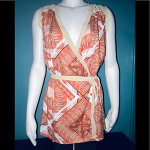 NICK & MO • Boho Coral Wrap Tunic / size (S) NWT!